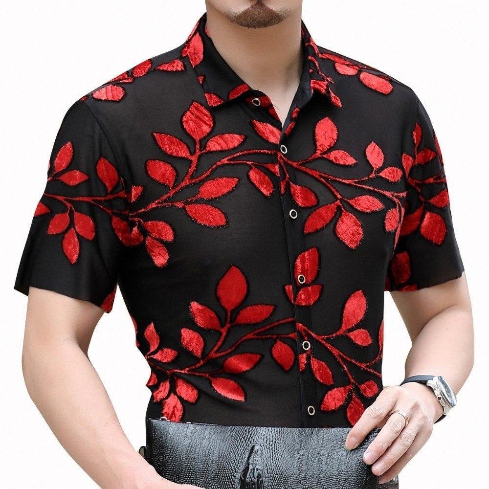 Kadife Gömlek Erkekler 0eI1 Through Seksi Şeffaf Kırmızı Çiçek Gömlek Erkekler Kısa Kollu Parti Balo Chemise Homme Camisa Hombre bakın