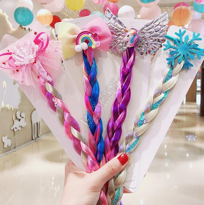Kids Girls Colored Braids Wig Hair Band Rings Unicorn Rainbow Sequined Glitter Braid Wigs Ponytail Holder Circle Princess Long Hairs D82705