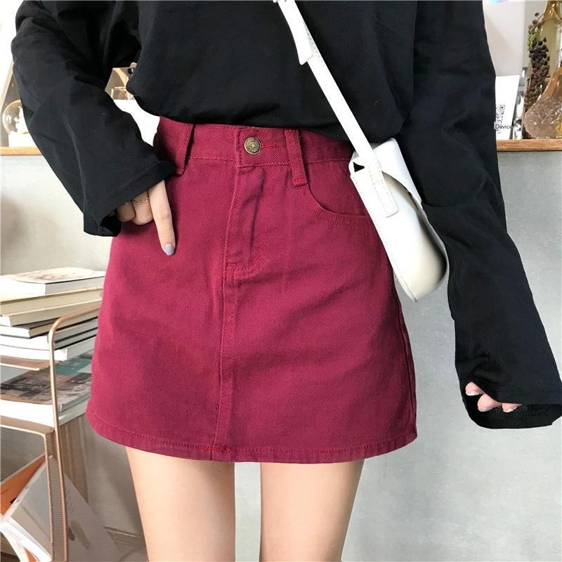 Denim liga honda honda falda adelgazamiento de primavera nueva liga del vestido de la falda estilo Harajuku ins de las mujeres Todo-fósforo Moda