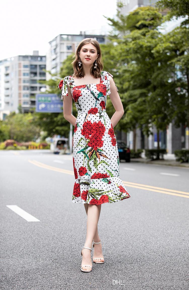 impresión de la celebridad del estilo del verano nuevo polka dot 2020 correa de la flor de la moda de la cremallera del vestido volante delgado