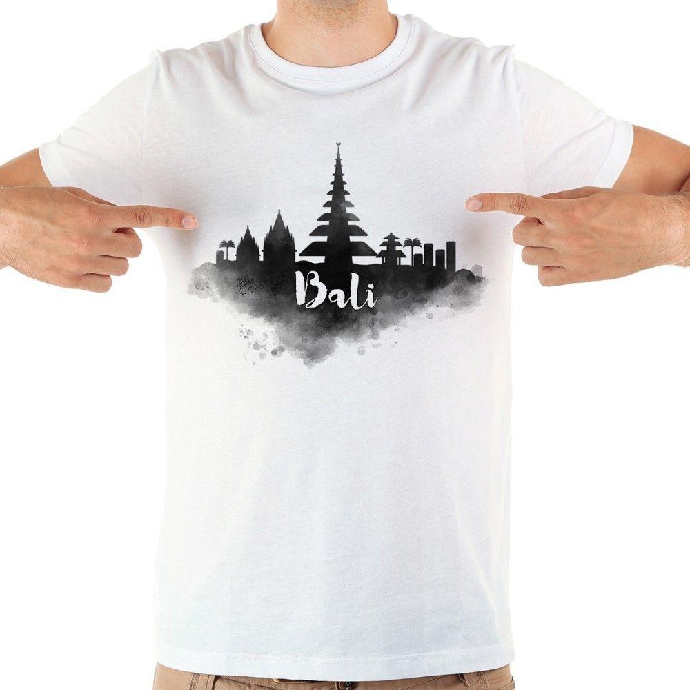 Bali dönüm suluboya komik tshirt erkekler yeni beyaz kısa kollu rahat homme serin t shirt