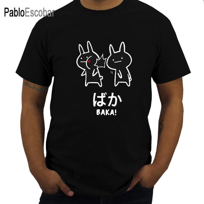 Baka conejo Slap camiseta Japón divertido animado Tops hombres algodón de manga corta T-O-Cuello de la novedad japonés Camiseta Eu Tamaño