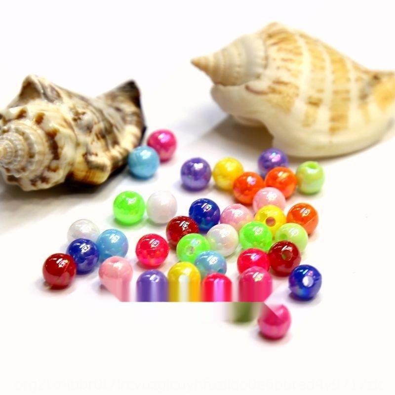 sqvom granos DIY hecho a mano de la joyería floja de acrílico de 6mm 8mm Diy Beads10mm color sólido ronda cuentas de colores AB 8203