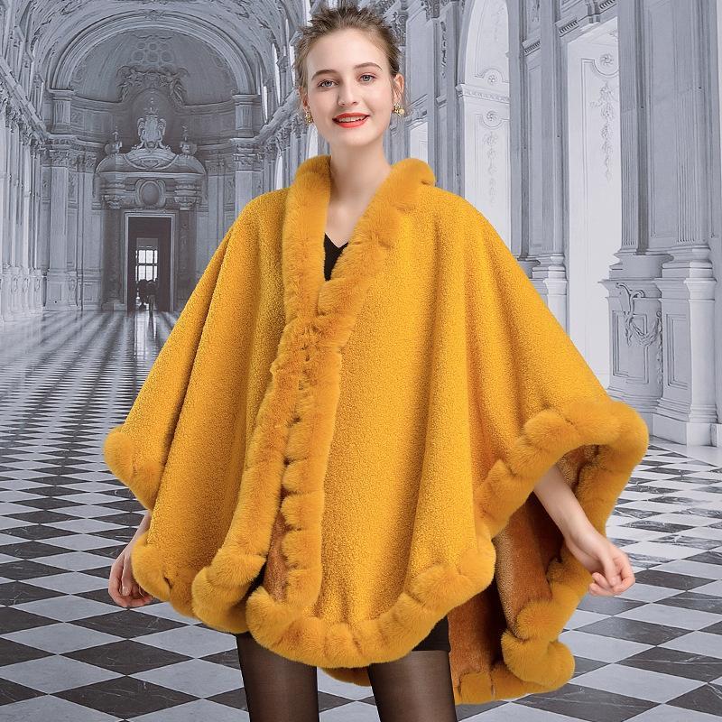 여성 모피 가짜 X009 유럽과 미국의 패션 겨울 의류 여성 케이프 두꺼운 모조 렉스 망토