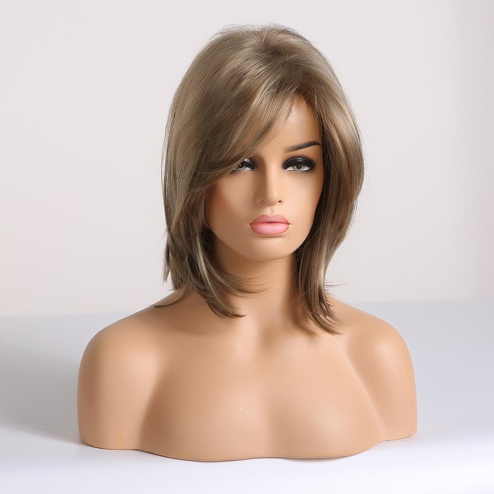 qualityShort Synthetic Wigs for Women Blonde Bob Wigs Layered Natural Hair Cosplay Daily Wigs High Temperature Fiber Full