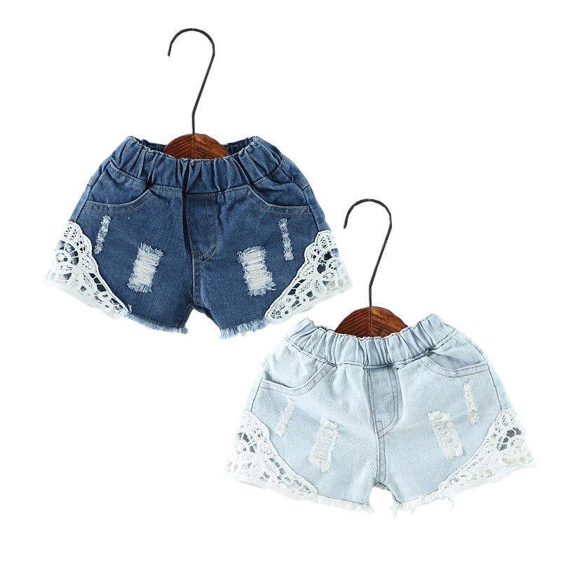 Summer Girls Lace Shorts Enfants Cute Girls Shorts Trou Jeans Denim Pantalons courts Pocket Shorts Jeans bébé Vêtements enfants 2-12Y MX200811