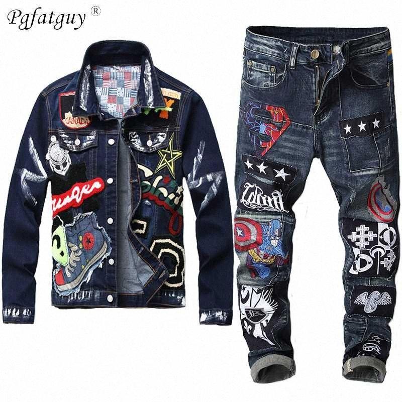 2020 2020 Autumn Mens Jeans Sets Beauty Badge Paint Denim Jacket + Embroidery Captain Badge Stitching Stretch Jeans Male Set is9A#