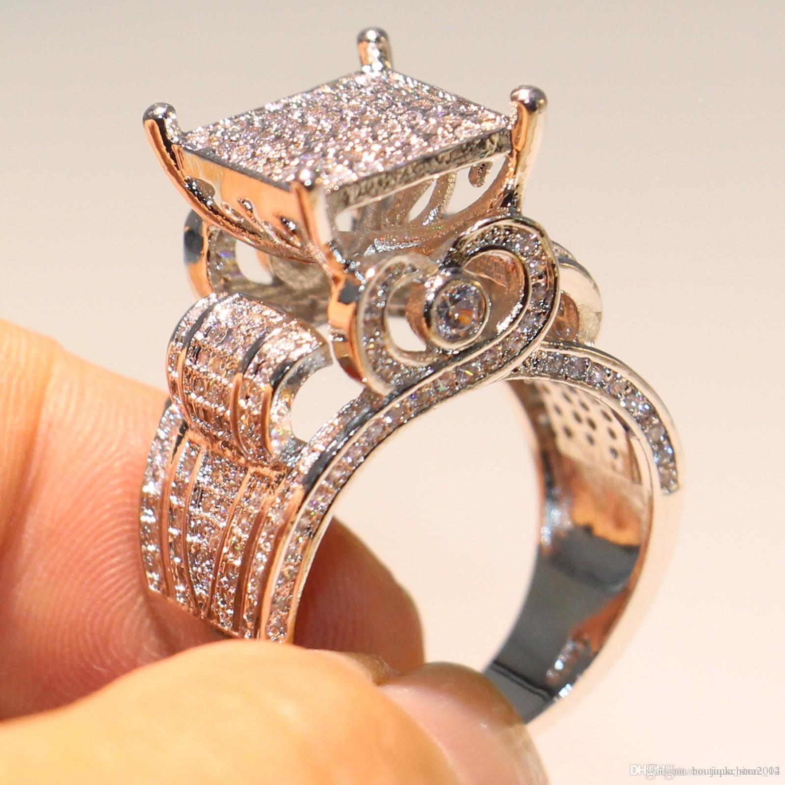 Mousseux de luxe de haute qualité Bijoux Argent 925 Fill Pave blanc Sapphire CZ diamant Owl Party Bague femmes mariage bande Anneaux cadeau