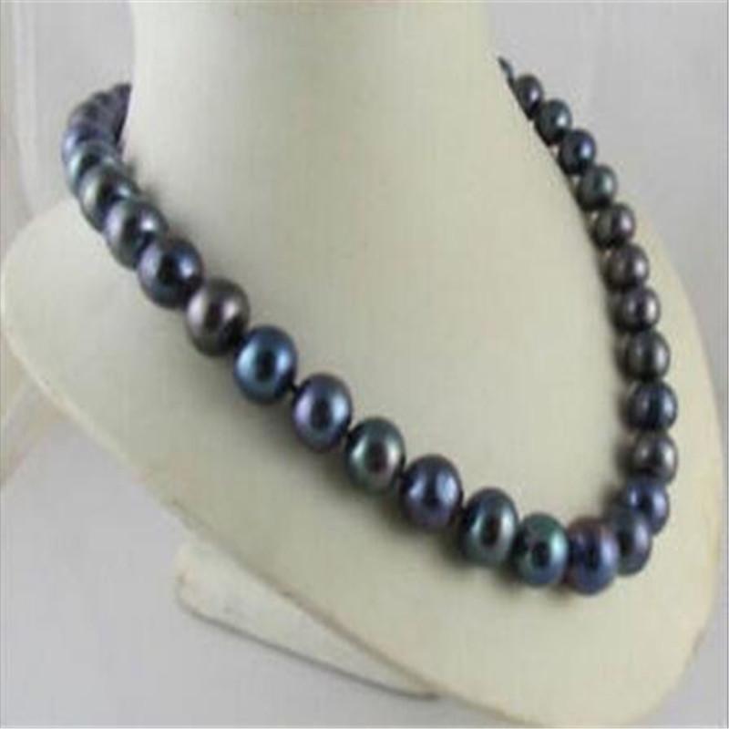 """Nouveau naturel Beau 11-12m m AAA noir Collier de perles de Tahiti 20"""""""