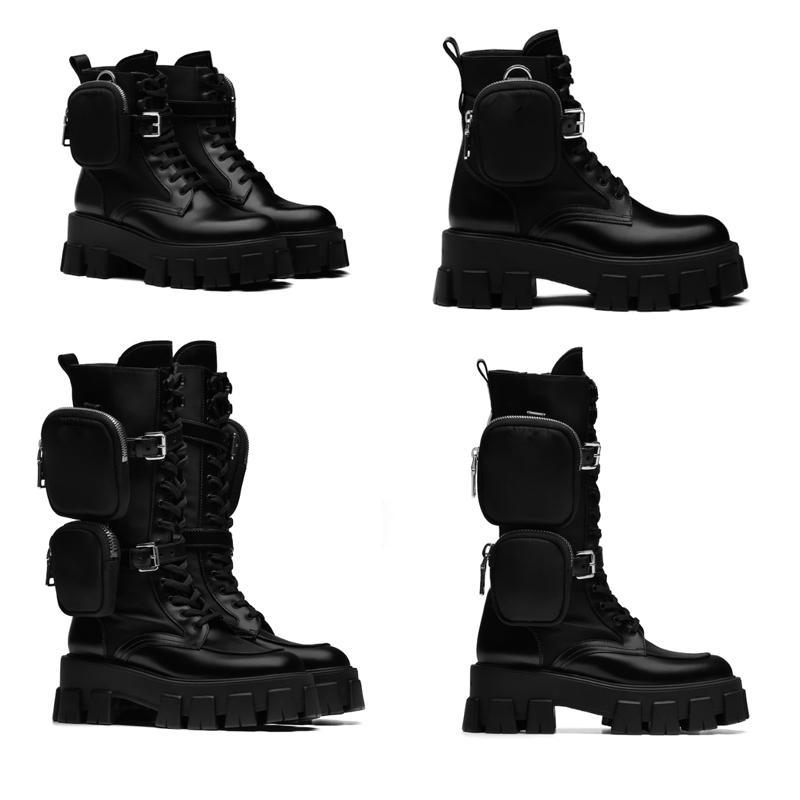 Diseñadores de mujeres ROIS Botas El tobillo de la rodilla Botas de Martin y botas de nylon Botas de combate de inspiración militar Nylon Bouch Tobillo adjunto