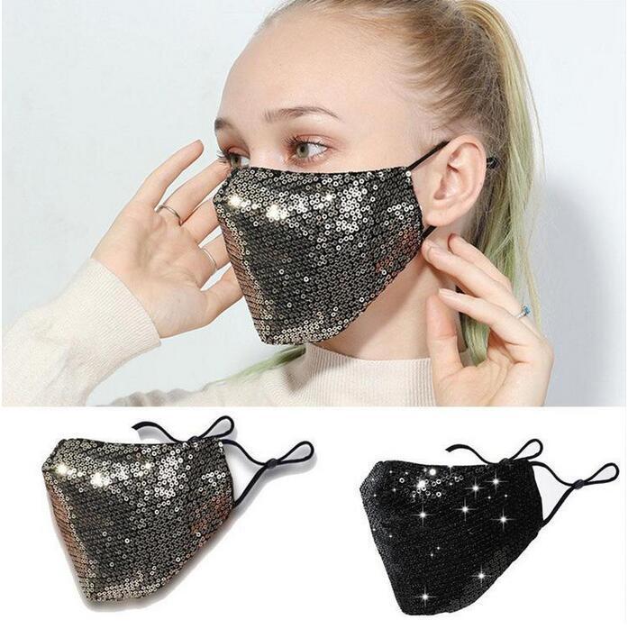 Máscara HOT Bling 3D lavável reutilizável PM2.5 Rosto protetor solar da cor do ouro Elbow lantejoulas brilhantes face da tampa Monte Máscaras Anti-poeira máscara boca
