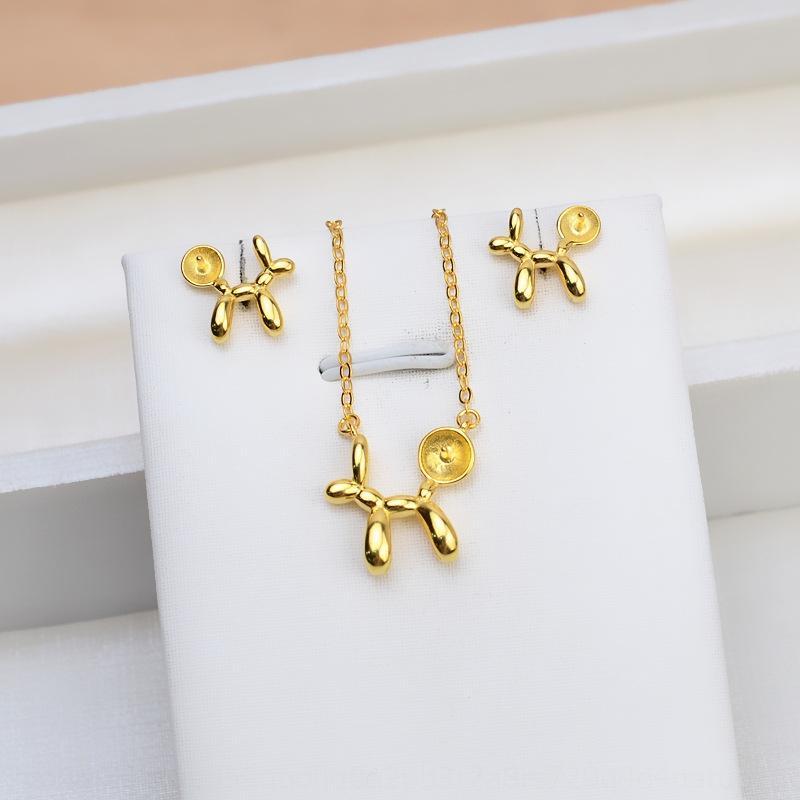 d7KM8 S925 perro máquina de plata accesorios de perlas femenina conjunto colgante de collar de perro del globo bricolaje Pendientes colgantes de bricolaje soporte vacío 1440