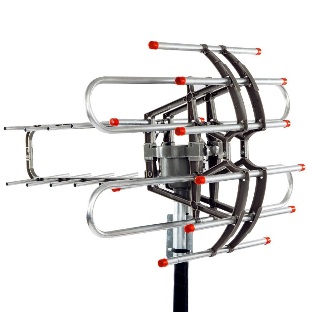 Venda HD Hot TV Antenna rotação de 360 ° UV Dual-segmento 45-860MHz 22-38dB Outdoor Antenna 110V Signal Amplification Antenna