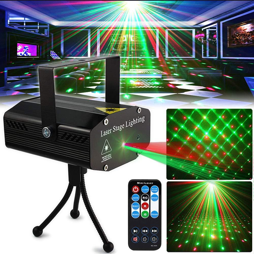 DJ Disco Lights Stage Lighting Projector Sound Activated Flash Strobe Light with Remote Control for Party Wedding Home Bar Club Christmas