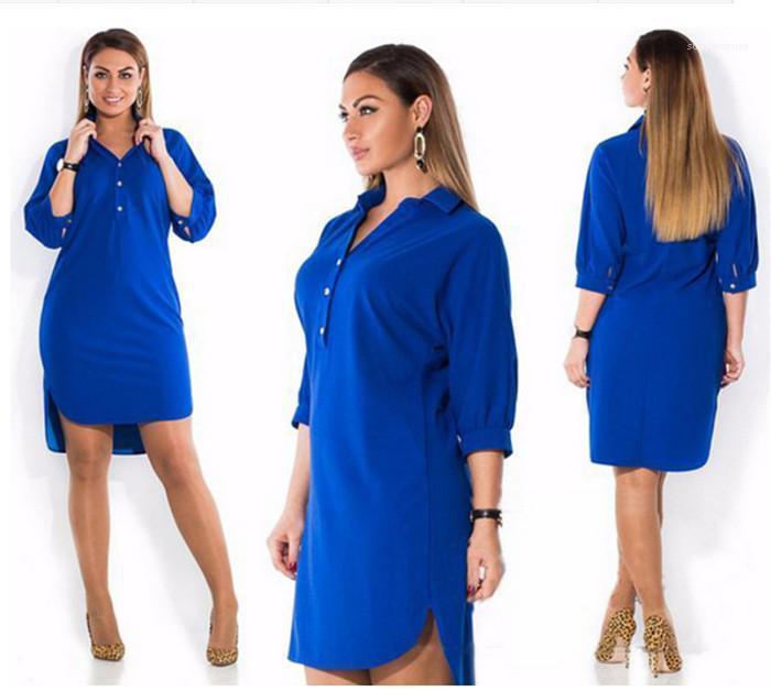 Robes Casual Famale solide Vêtements Couleur Femmes irrégulière Robes chemise manches longues Lapel simple boutonnage