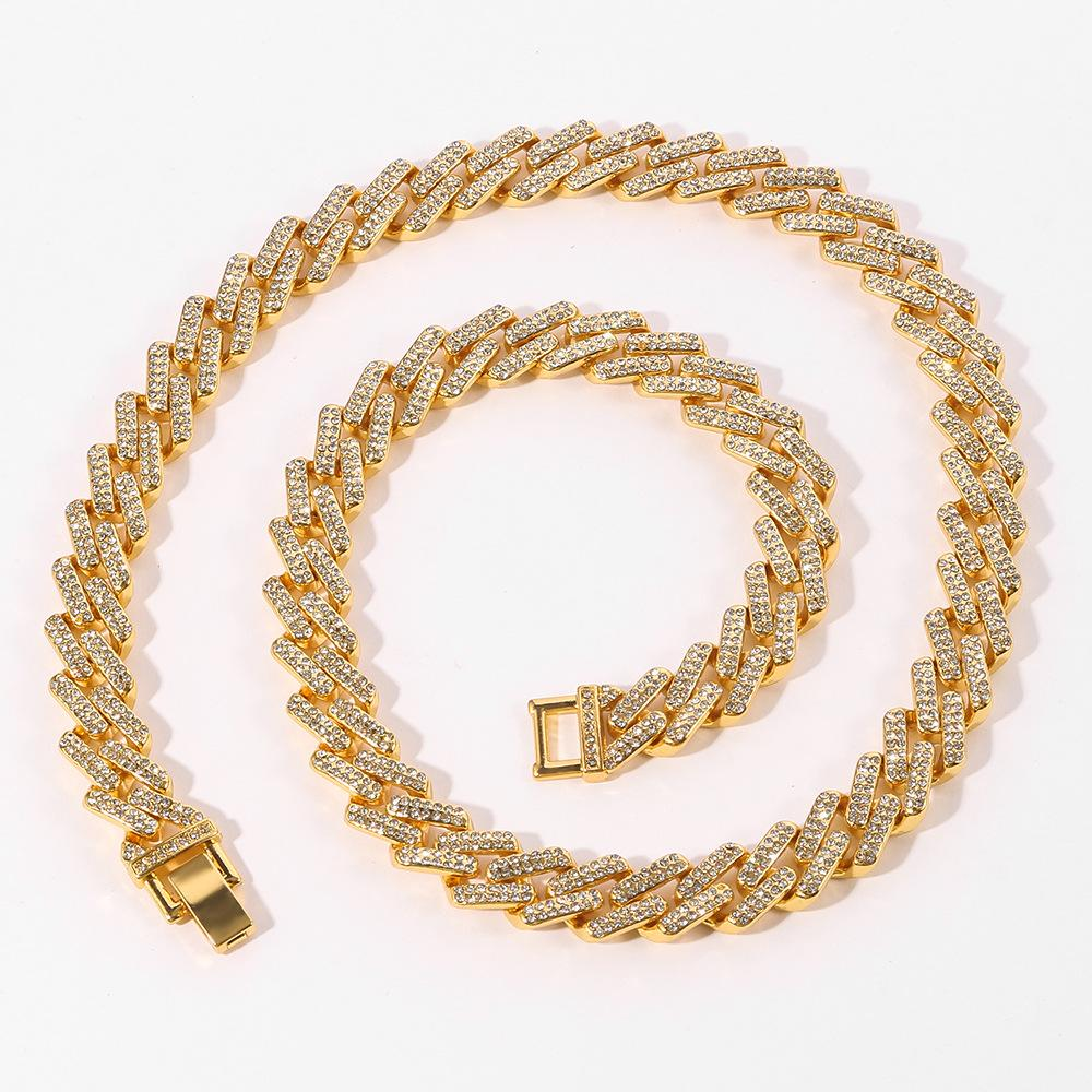 لون جديد 20MM الكوبية وصلة سلاسل قلادة أزياء الهيب هوب المجوهرات 3 صف أحجار الراين مثلج خارج القلائد للرجال 20-60cm