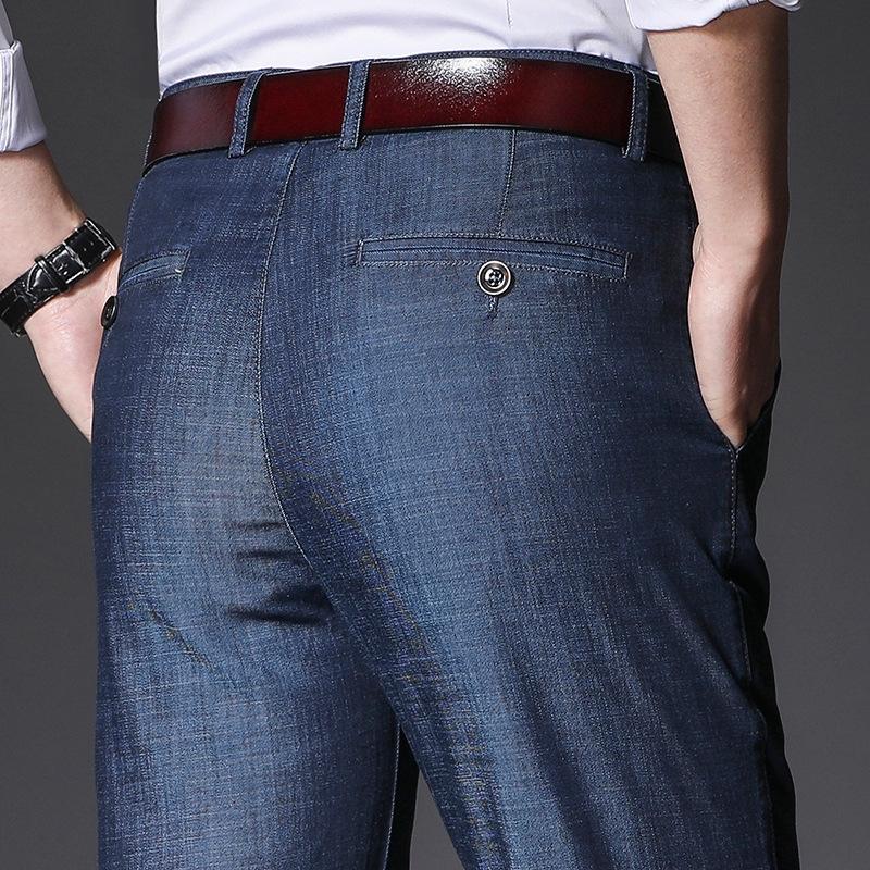 3qxvh orta yaşlı Hengyuanxiang kot yaz ince streç gündelik iş VUKsm düz pantolon Baba kot Erkekler uzun pantolon erkek trou gevşek