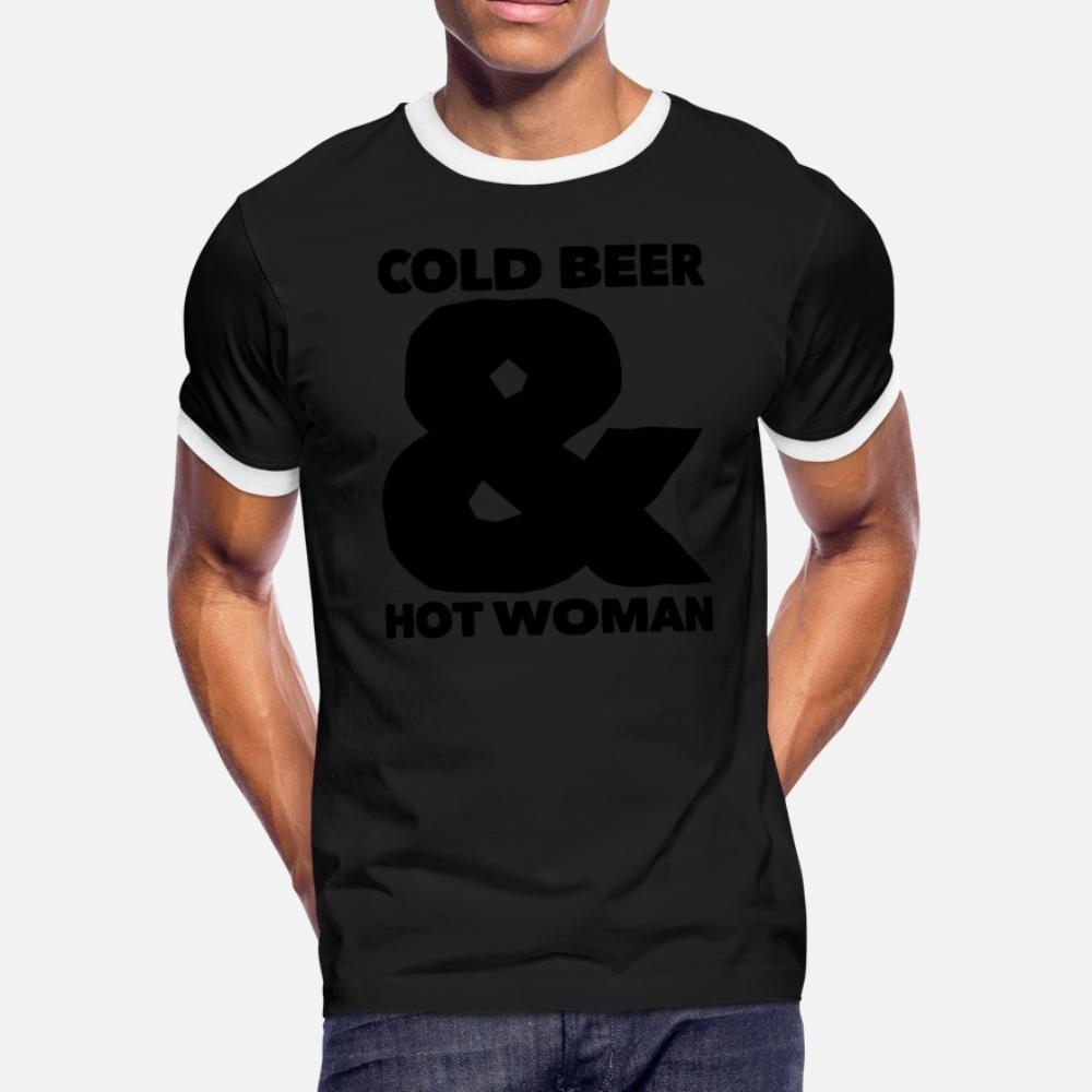 Cerveza fría y caliente de las mujeres camiseta de los hombres de impresión Camiseta del cuello de O Fit La luz del sol de primavera básico de la novedad de otoño Camisa