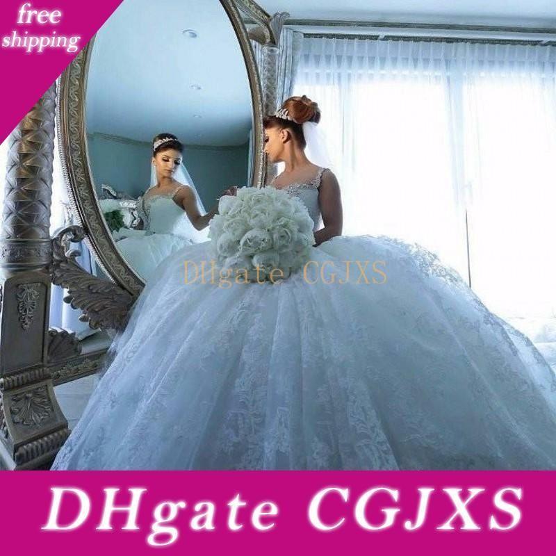 2020 Tamaño Vestidos de novia vestido de bola formales Nueva árabe boda de correas espaguetis FULLE apliques de encaje de tul perlas hinchada de la capilla de tren Plus