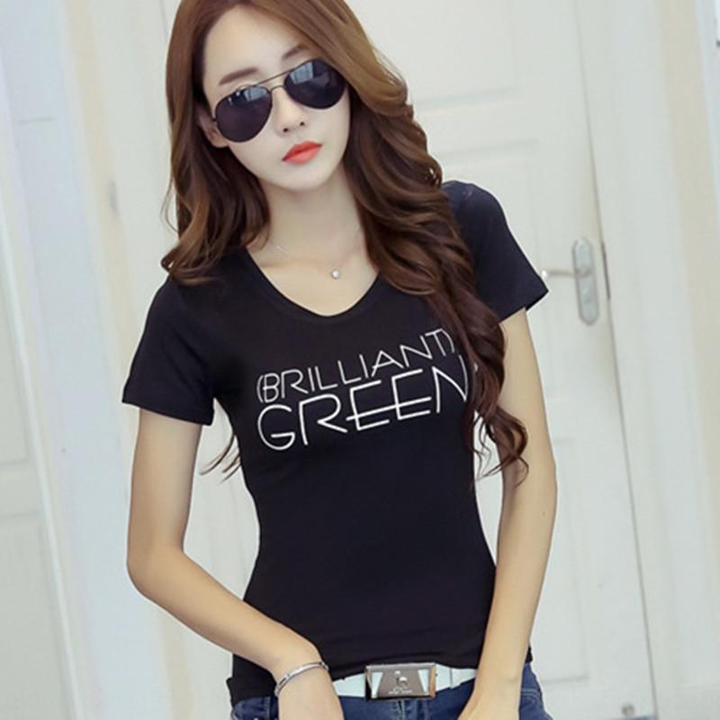 qbsLr verano nueva Coreano Japonés carta de estilo manga delgada de la manera camiseta y cuello redondo corto blanco de la camiseta de las mujeres para las mujeres