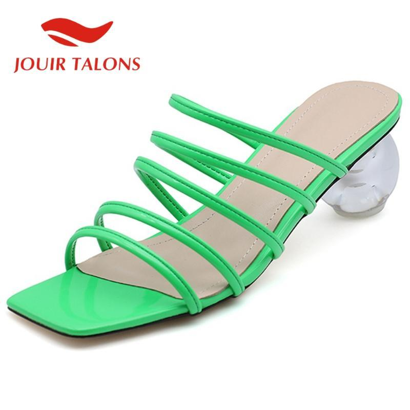 JOUIR когтями 2020 Dropship лакированной кожи Женщины Мулы сандалии Странный стиль каблуки Peep Toe Narrow Band насосы Летняя обувь женщина