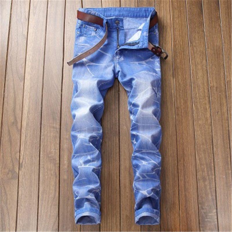 New Elastic Männer Jeans mit geradem Schnitt Wasser hohe Qualität Loch Hosen Street Style Klassisches Design Jeans frei Schiff waschen