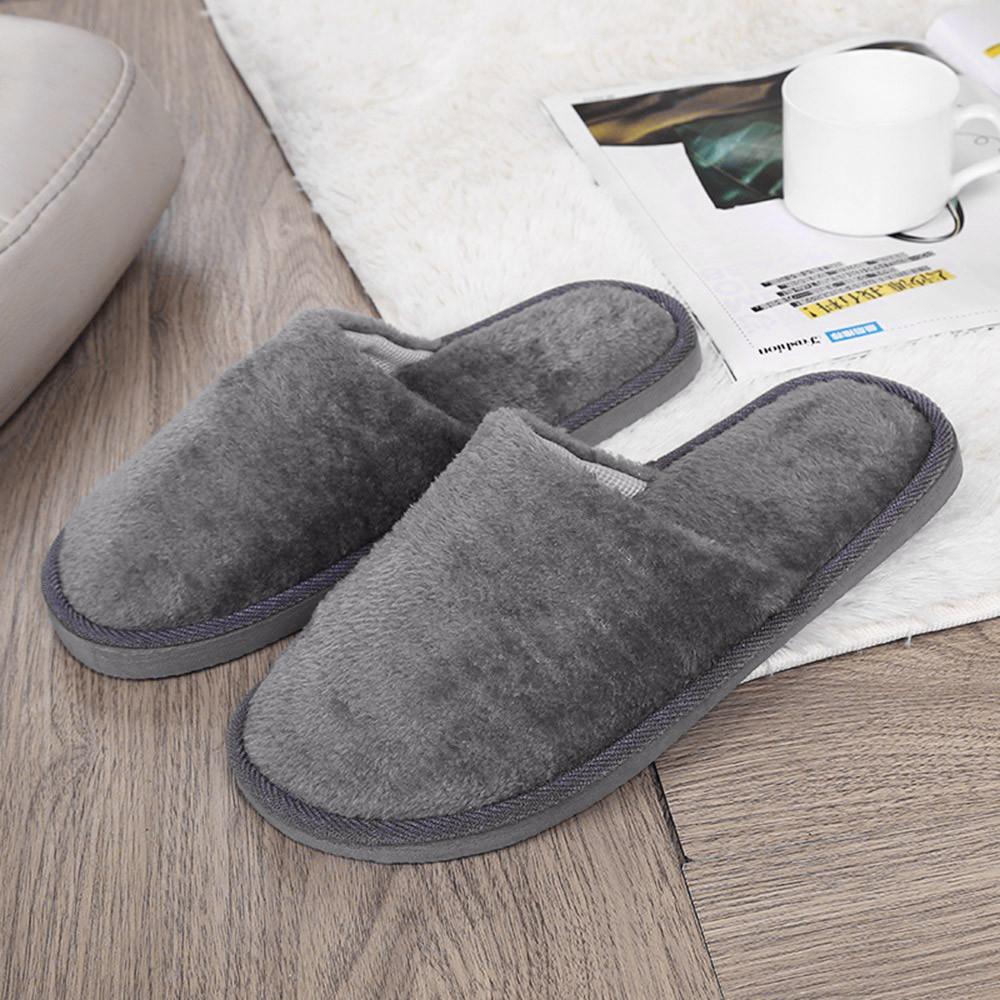 Обувь Мужчины Теплый дом тапочки плюшевые мягкие Indoors Противоскользящая Зимний этаж Спальня Обувь Zapatos де Hombre # 3N27