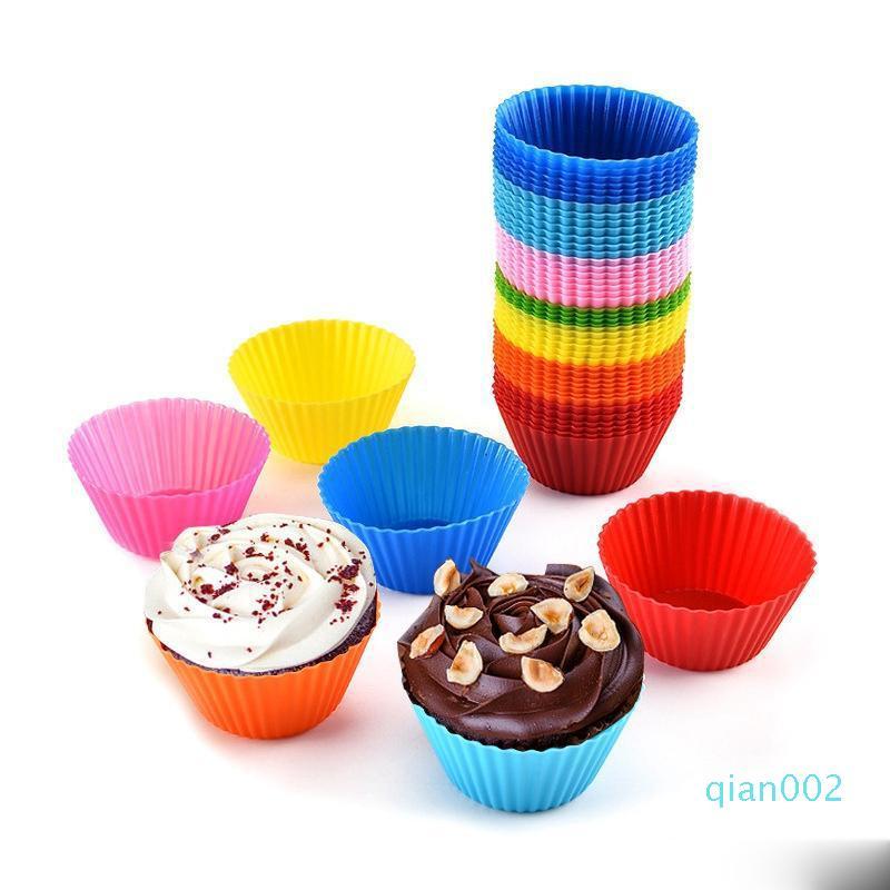 Silicone focaccina Cupcake Cup Cake Mold Caso Bakeware stampista Teglia Jumbo torta lavora 7CM