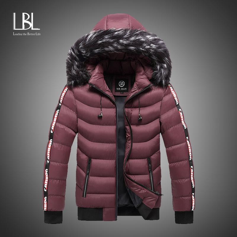 Parka Erkekler Kış Kürk Kapşonlu Ceketler Erkekler Kalın WINDBREAKER Outwear Sıcak Palto Casual Katı Marka Giyim Artı boyutu S-5XL 200922