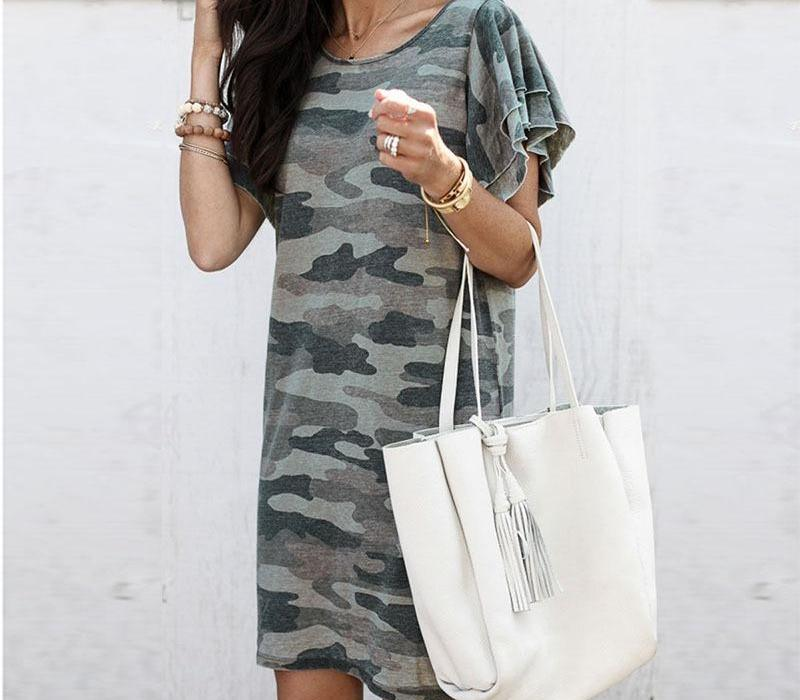 Donna Camouflage Fashion Dress increspature Pile manica girocollo Vita Medio lungo del mini vestito 2020 Estate casuale Ladies33