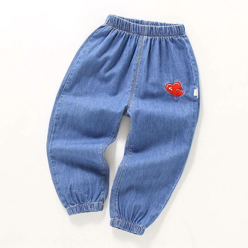случайные летний fmbfk Детского тонких мальчиков джинсов для девочек иностранного стиля Корейского стиля модных джинсы ребенка против комаров штаны против комаров