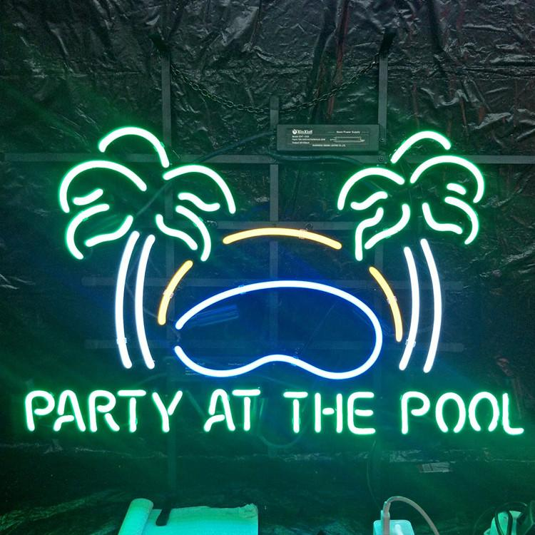 PARTY AT THE POOL Neon Sign Light Outdoor Bar Club Display Entertainment Decoration Neon Lamp Light with Metal Frame Backing