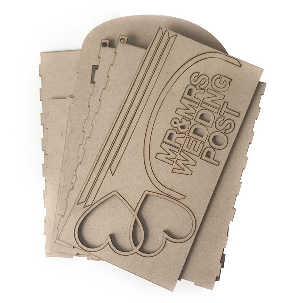 Forniture di nozze in legno scatola di carta con blocco storage desktop di regalo di anniversario fai da te