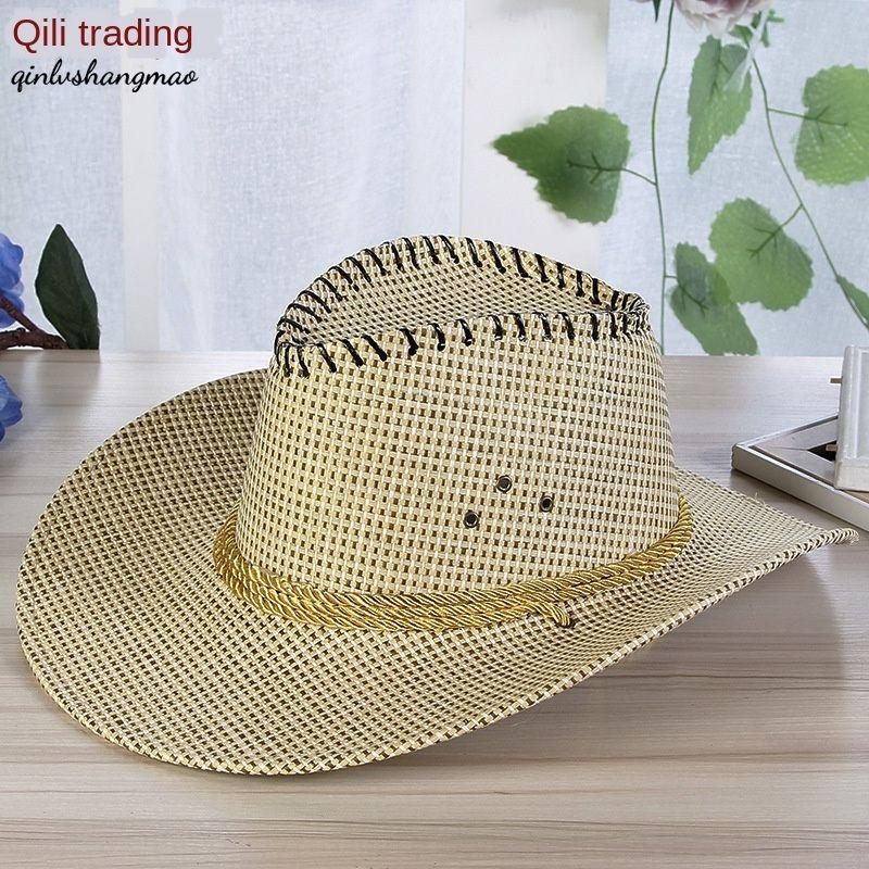 avBGH 2020 nuovo cappello di jazz cowboy di paglia da cowboy di paglia denim arricciatura cappello da sole all'aperto sulla spiaggia degli uomini