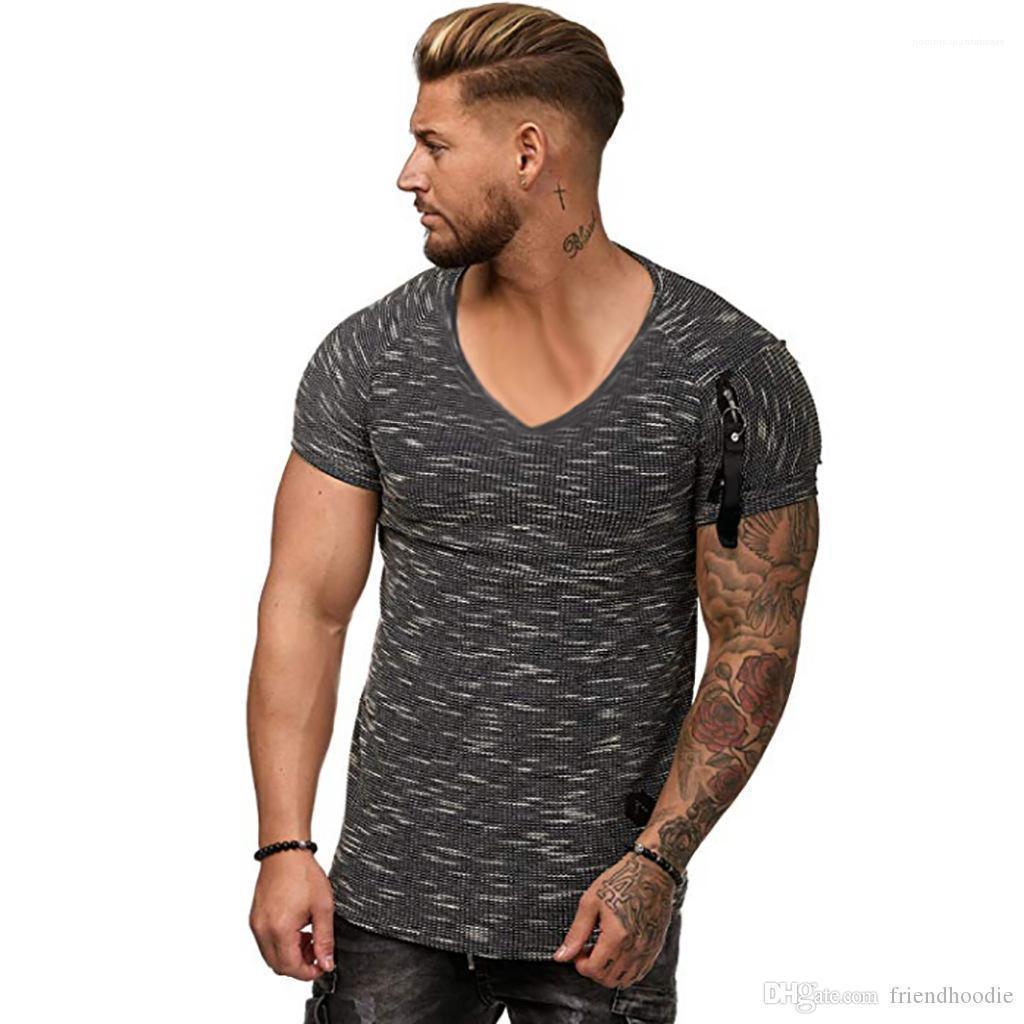 Spor Casual Erkek V yaka Fermuar Tasarımcı tişörtleri 2019 Giyim Yaz kollu üstler