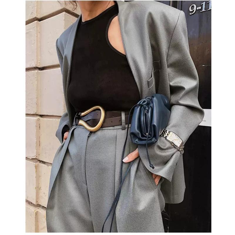 Il nuovo modo morbido Faux cinghie di cuoio Donne Grande Lega Fibbia sottile doppio strato cinture shirt annodata cinghia lunga delle cinghie di vita D070814