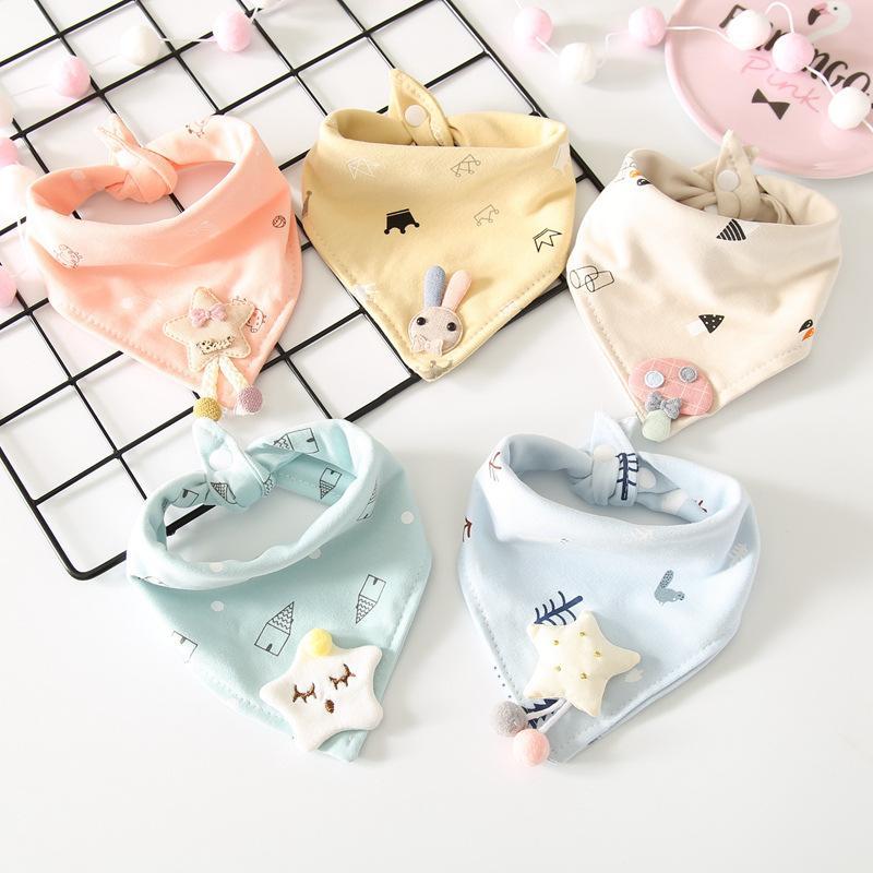 5pcs/set Cartoon Soft Cotton Bandana Baby Bibs Toddler Baberos Newborn Boys Girls Triangle Scarf Saliva Towel Burp Cloths