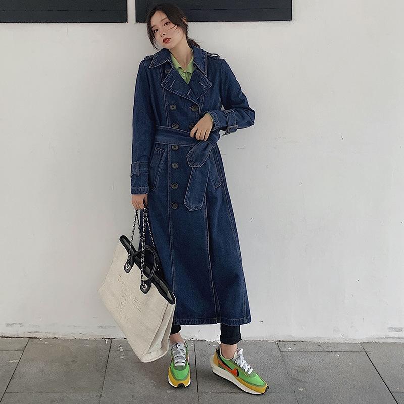 rJYqO denim lavado trincheira novo grande over-the-knee longo casaco lace-up estilo coreano Windbreaker top tamanho jaquetão das mulheres soltas