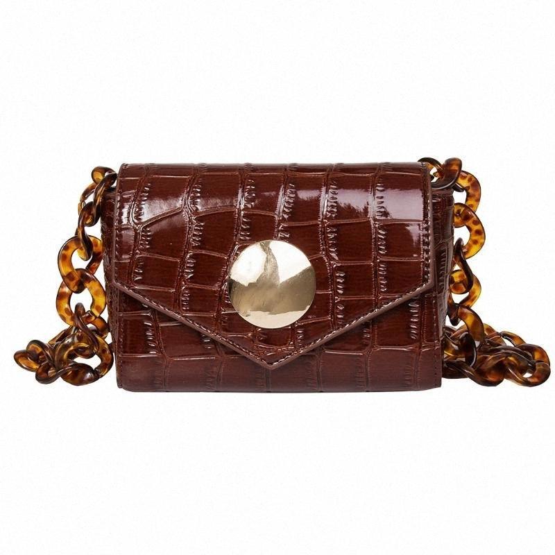Kadınlar Küçük Çantalar Zincir Omuz Çantası Mini Cüzdanlar Bolsa Feminina X5Do # için Taş Desen Deri Crossbody Çanta