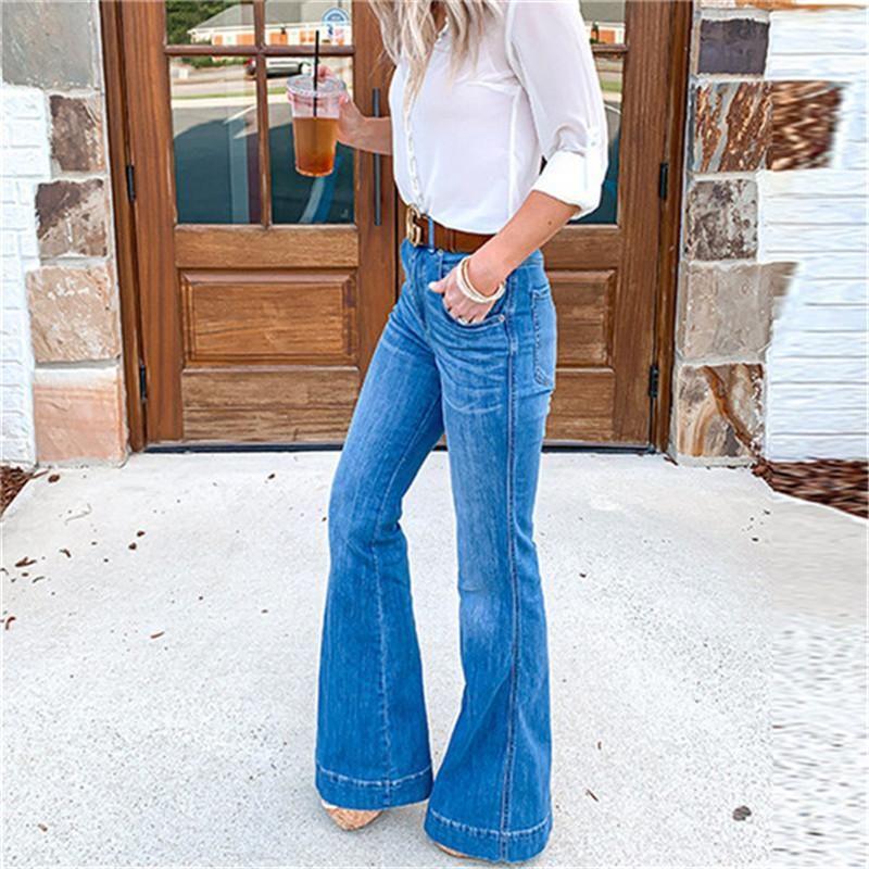Kadınlar Flare Pantolon Yüksek Bel Seksi Geniş Bacak Pantolon Günlük Moda Kadınlar Jeans Yıkanmış Jeans