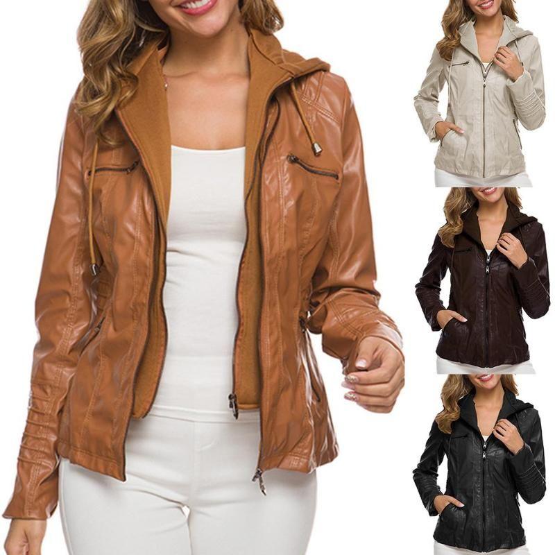 Womens Winter Coat Plus Size Women Faux Leather Pocket Motor Jacket Solid Color Zipper Slim Outwear