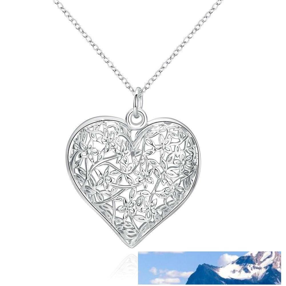 Frosted Fiore Moda semplice modello pendente del cuore della cavità a forma di ciondolo in argento sterling 925 catene dei monili per le donne gli uomini Locket Collane