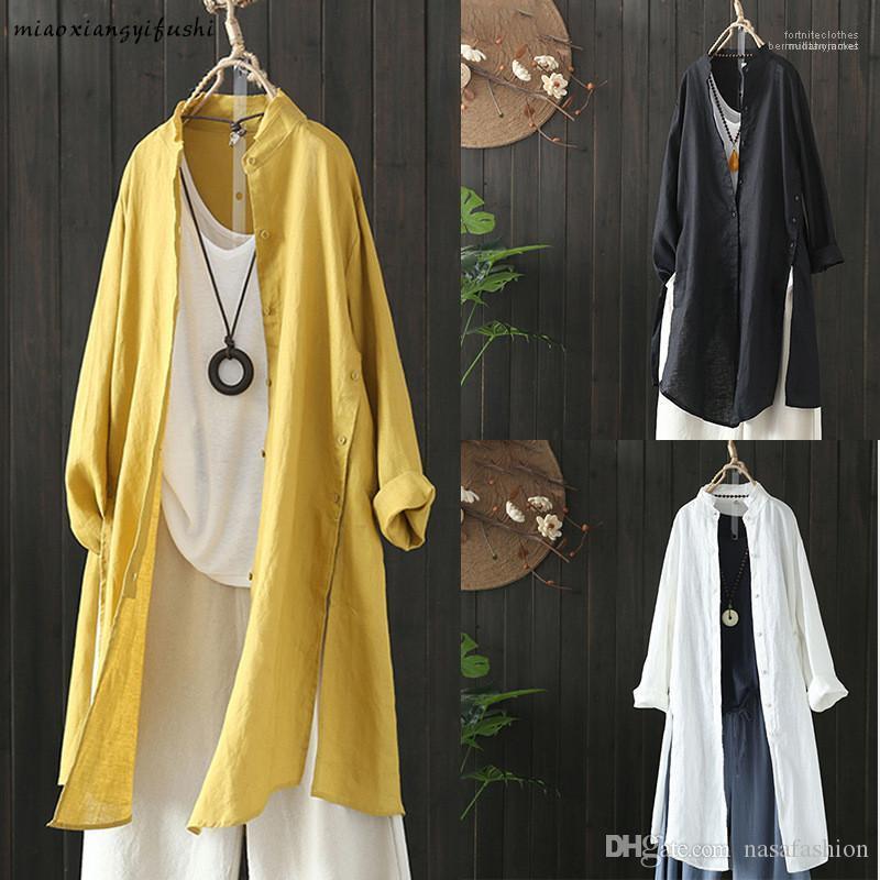 Lady classico abbigliamento casual donne del progettista camicia lunga semplice Natural Color manica lunga allentata Camicia Primavera