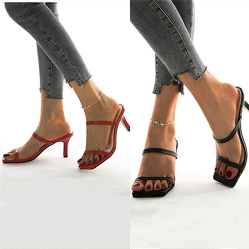 talón fino de la venta caliente-Mujeres sandalias de tacón mediados de sólidos zapatos de verano fina se unen zapatillas mulas dedos de los pies cuadrados zapatos de tacón alto del banquete de boda Señora atractiva
