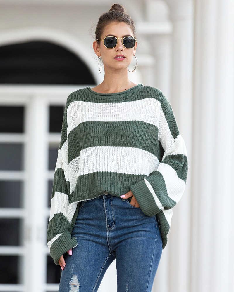 Corrispondenza arricciato Rotondo Colore del collo a righe 2020 primavera e l'estate nuovi europei e americani delle donne del maglione delle donne Maglione