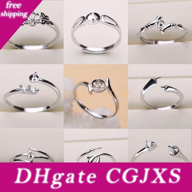 Pearl Impostazioni Anello argento 925 regolazioni dell'anello 9 stili DIY dell'anello per le donne di misura adattabile gioielli Impostazioni regalo Dichiarazione gioielli
