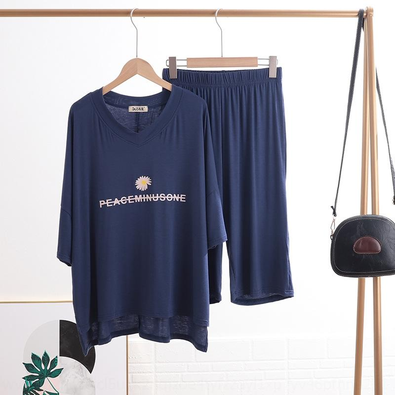 M2C6k 2020 été nouveau T-shirt T-shirt pantalon vêtements de la maison col V à manches courtes + Capri droit à deux pièces ensemble Daisy fendu ensemble