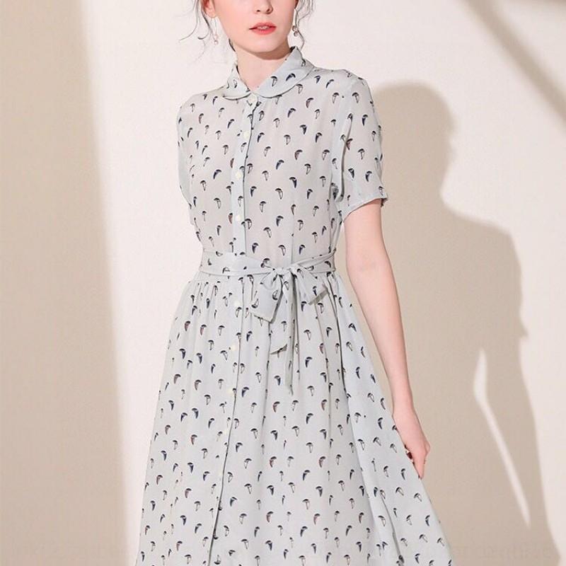 E7Quv Schlankheits Sommer elegante Taille 2020 Silk neues Kleid silk Fee Schnür-Blumenkleid
