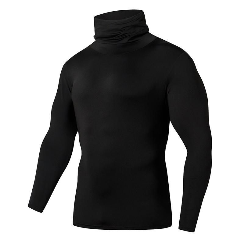Nouvelle Arrivée Collier High Color Solide Manches longues Sauvage Homme Jogging Basketball Bodybuilding Sweat-shirt Créwneck Slim Chemise de fond