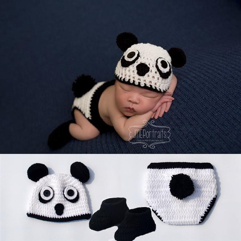 uxSI5 Photo Studio children's Kung Fu Panda baby knitted suit photography hat clothing 100-day photography clothing
